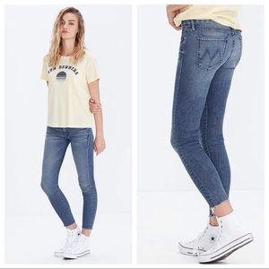 MOTHER Looker Ankle Fray Jeans Finger Prints Muddy